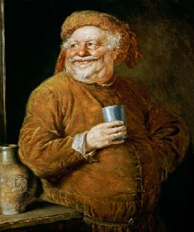 Falstaff with a pewter tankard