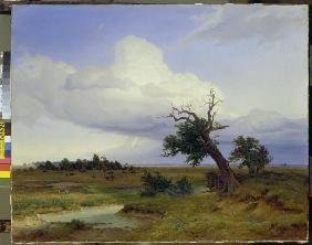 Landscape with dying oak