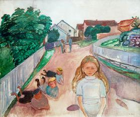 Children Playing in the Street in Asgardstrand