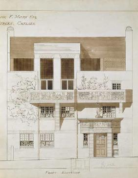 Front Elevation of Studio and House for Frank Miles (1852-91), Tite Street, Chelsea