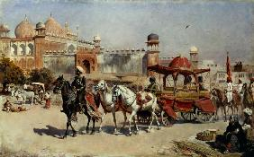 Procession in front of the Jama Masjid mosque in A