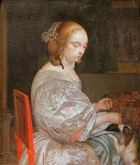 Portrait of a Young Lady with a Little Dog