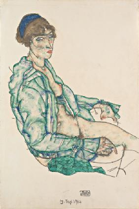 Sitting Semi-Nude with Blue Hairband