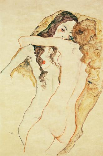 Egon Schiele - Dos mujeres besándose