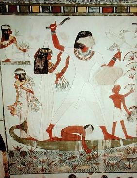 Egyptian  - Fishing and fowling in the marshes, detail from the Tomb Chapel of Menna, New Kingdom