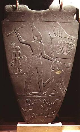 The Narmer Palette: ceremonial palette depicting King Narmer, wearing the white crown of Upper Egypt