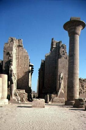 Second Pylon and the column of the Taharqa Kiosk, in Great Court of the Temple of Amun