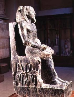 Statue of Khafre (2520-2494 BC) enthroned, from the Valley Temple of the Pyramid of Khafre at Giza,