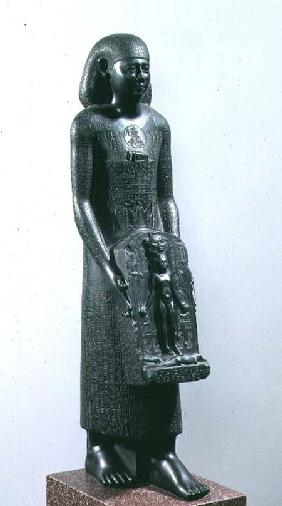 Statue of Padimahes, priest of Bastet, with magical texts for healing, 30th Dynasty or early Ptolema