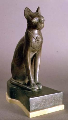 Statuette of a cat representing the goddess Bastet, bearing the cartouche of Psamtek I, Saite Period