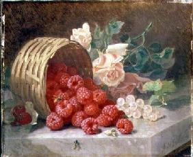 Overturned Basket with Raspberries and White Currants