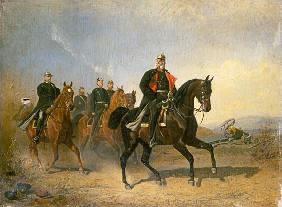 Emperor Wilhelm I. of Preussen to horse with Bisma