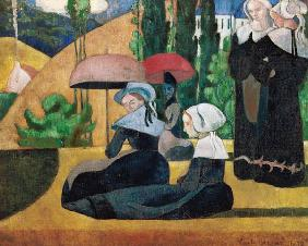 Breton women with parasols