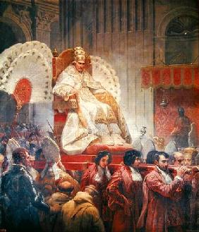 Pope Pius VIII (1761-1830) in St. Peter's on the Sedia Gestatoria