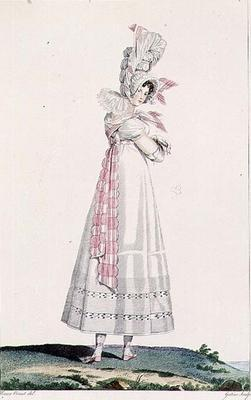 Summer Dress, fashion plate from 'Incroyables et Merveilleuses', engraved by Georges Jacques Gatine