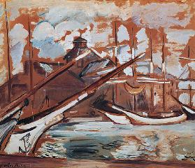 Harbour scene, by Othon Friesz (1879-1949), oil on cardboard, 54x65 cm. France, 20th century.