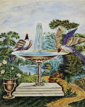 Birds in a Fountain in a Landscape Park