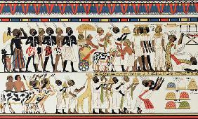 Nubian chiefs bringing presents to the King of Egypt, copy of an Ancient Egyptian wall painting from
