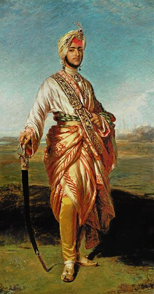 Portrait Of The Maharajah Duleep Singh Of Elveden, Standing Full Length, Wearing Maharajah''s Robes