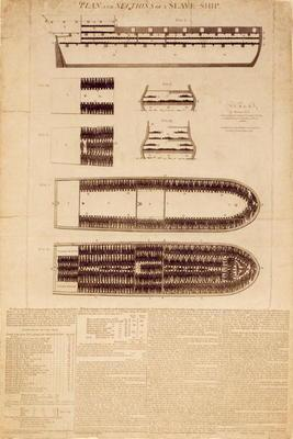 Plan and sections of a slave ship, published 1789 (engraving)