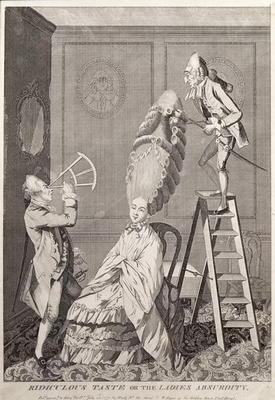 Ridiculous Taste or the Ladies Absurdity, pub. by A. Darly, London, 1771 (litho)