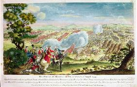 The Battle of Minden in Westphalia in 1759 (colour litho)