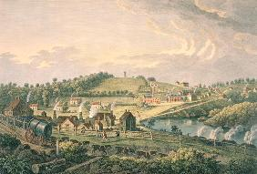 Upper Works at Coalbrookdale, Shropshire engraved by F. Vivares, published in 1758 (coloured engravi