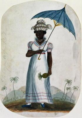 Lady with a Parasol and a Pineapple, c.1840 (w/c on paper)