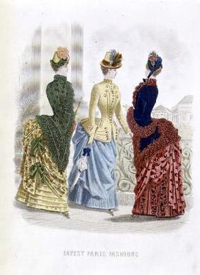 Latest Paris Fashions, three day dresses in a fashion plate from 'The Queen', May 1885 (coloured eng