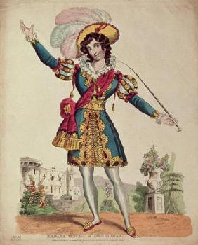 Madame Vestris in the role of Don Giovanni from Mozart's opera 'Don Giovanni' (coloured engraving)