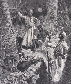 Murdering Slaves That Become Exhausted, from 'Heroes of the Dark Continent', c.1880 (engraving)