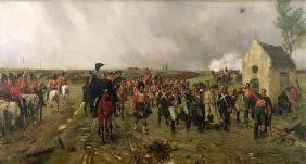 Wellington's March from Quatre Bras to Waterloo, 1878 (oil on canvas)