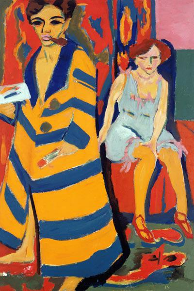 Self-portrait with model (paints over 1926) 1910