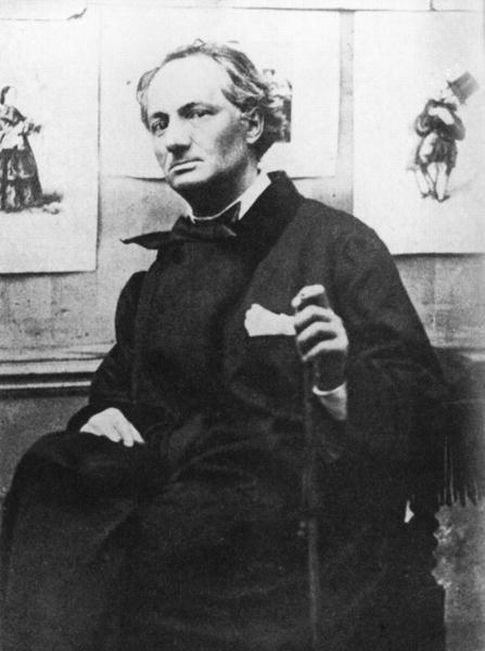Etienne Carjat - Charles Baudelaire (1821-67) with Engravings, c.1863 (b/w photo)