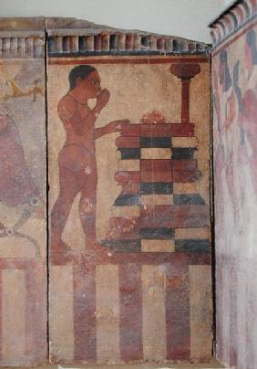 The Campana Plaque, detail of a nude priest before an altar, from Cerveteri