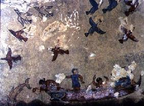 Fishermen in a boat and birds flying, from the Tomb of Fishing and Hunting