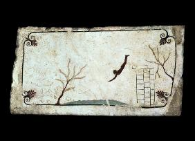 Painting from the Tomb of the Diver from the southern cemetery at Paestum