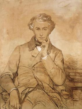 Portrait of Henri Reber (1807-80) (pencil & white chalk on paper)