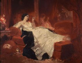 Woman on a red sofa