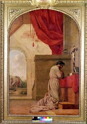 St. Bruno (1030-1101) Praying in his Chapel, from the Life of St. Bruno
