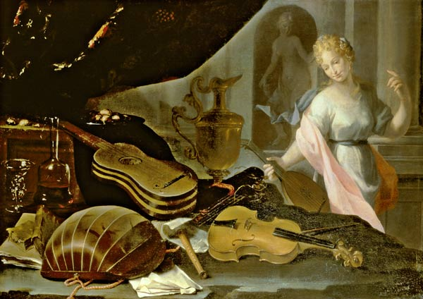 Titulo de la imágen Evaristo Baschenis - Still Life of Musical Instruments, with a Female Figure