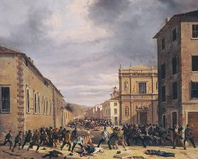 The Battle of 21st March 1849 in the Piazzetta Santa Barnaba in Brescia