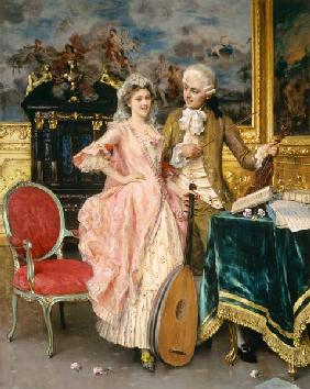 Music hour in the Rococo period.