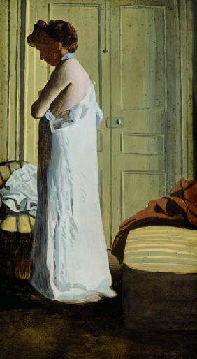 Nude in an Interior, Woman Removing her Shirt