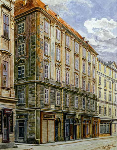 Mozart House in Vienna , Watercol.