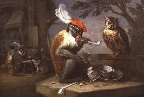 A monkey smoking and drinking with an owl