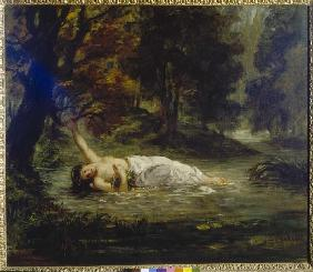 Delacroix, Ferdinand Victor Eug�ne : The death of the Ophelia