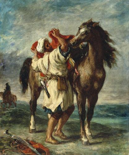 Reproducción impresa de  Un árabe ensilla su caballo