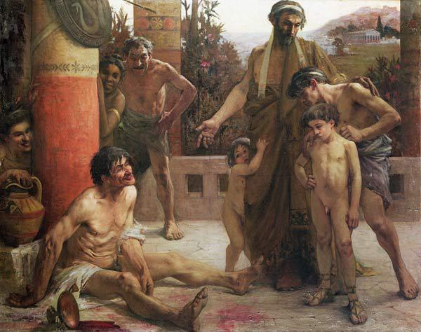 A Spartan points out a drunken slave to his sons, 1900 (oil on canvas)
