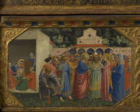 Mary and Joseph (The Annunciation retable with 5 Predella scenes)